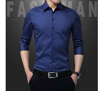 Deep Navy Blue Sleeve Casual Shirt for Men