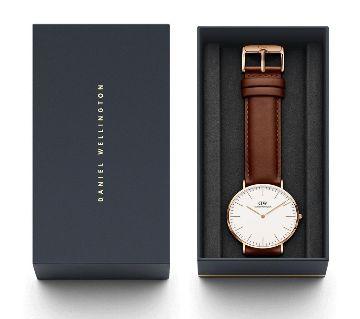 DW Chocolate PU Leather analog Wrist Watch For Men -Copy