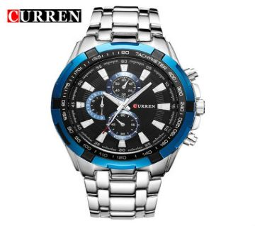 Curren Silver Chain Black Dial Wrist Watch for Men - 8023