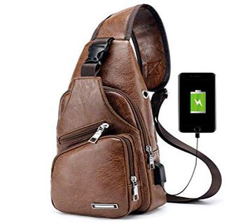 Unisex Crossbody Fashion Backpack-Brown