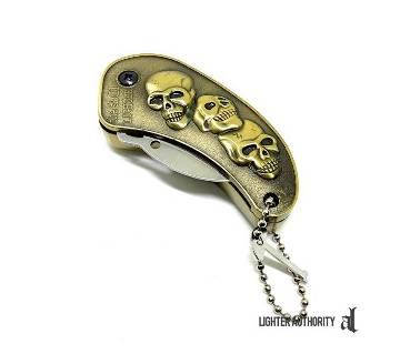 Skulls Metal Folding Knife Gas Lighter