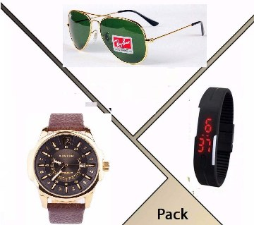 Ray-Ban (copy) sunglasses+Curren (copy) watch+LED watch
