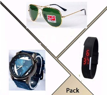 Ray-Ban (copy) sunglasses+Fastrack (copy) watch+LED watch