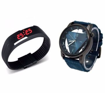 Fastrack Gents Watch (Copy) + LED Watch Combo