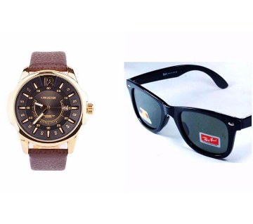 RayBan (Copy) Sunglasses + Curren Wrist watch combo