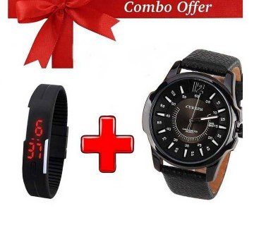 CURREN gents watch+LED watch combo offer