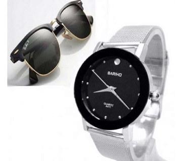 combo of Ray Ban sunglasses+ Bariho gents watch- copy
