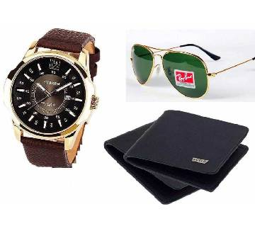 Ray-Ban (copy) sunglasses & Curren watch & Wallet