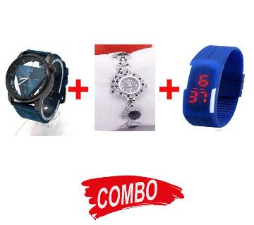 Feha Peacock Pride Ladies watch + Fastrack gents watch (replica) + LED Sports watch - Combo Offer