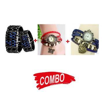 Ladies Bracelet Watch + LED Samurai Watch + Ladies Bracelet Type Watch - Combo Offer