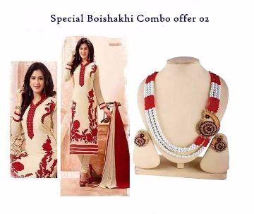 Boishaki necklace set with matching 3 piece