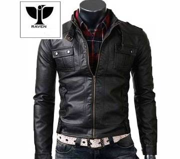 RC04 Mens Genuine Leather Belted Style Collar Jacket