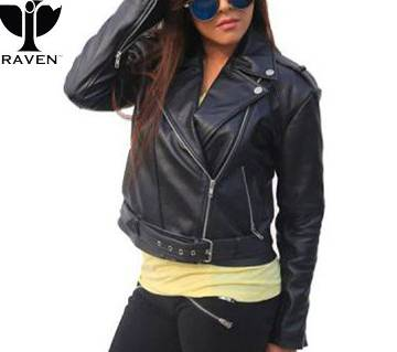 RAVEN BLACK CROPPED LADIES BIKER JACKET WITH BELT