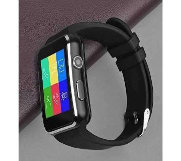 X6 smart Mobile watch Phone carve display with Box - Black