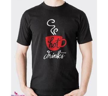 Hot Drinks-Half Sleeve Cotton T-Shirt For Men