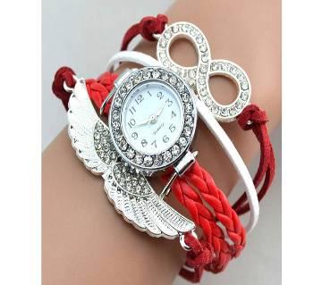 Crystal Leather Angel Wings Bangle Bracelet Wrist Watch-Red