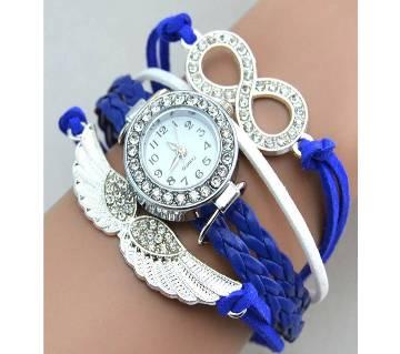 Girls Crystal Leather Angel Wings Bangle Bracelet Wrist Watch-Blue