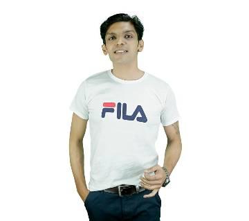 Mens Half Sleeve Cotton T-Shirt (FiLA Milano White)