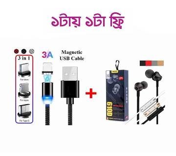 3 in 1 Magnetic Cable With Remax 610D Headphone Free