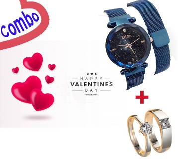 Valentines Watch & Couple Finger Ring Combo
