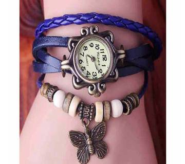 Blue Ladies Bracelet Type Wrist Watch leather with beads