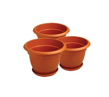 71501 - Combo Pack of 3pcs Planter Dhalia with Tray - 8 inch - Terracotta Color