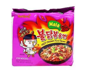 Samyang MALA 4x Buldak Bokeum Ramen. 5pcs. Spicy Hot Chicken Flavor Ramen - Korea