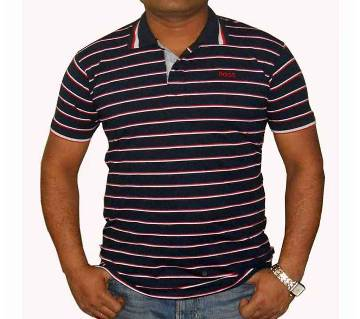 Gents Half-sleeve Striped Polo Shirt