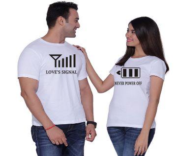 Love Signal white couple T-Shirt