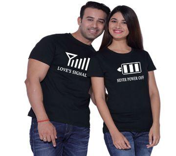 Love Signal Black Couple T-Shirt
