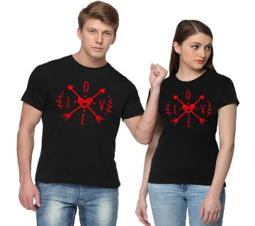 Love Arrow Black Couple T-Shirt