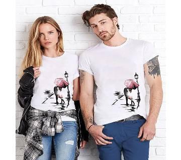 Rain Lover white couple T-shirt