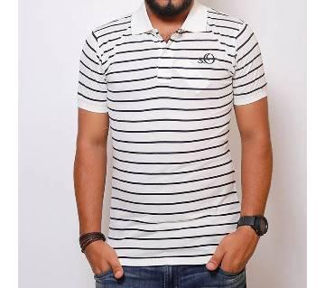 Half-sleeve Gents Cotton Striped Polo Shirt