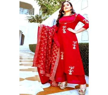 Unstitched SBlock Printed Cotton Salwar Kameez