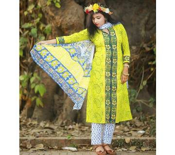 Unstitched Block Printed Cotton Salwar Kameez - Copy