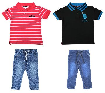 Boys polo shirt and jeans pant sets.-red black