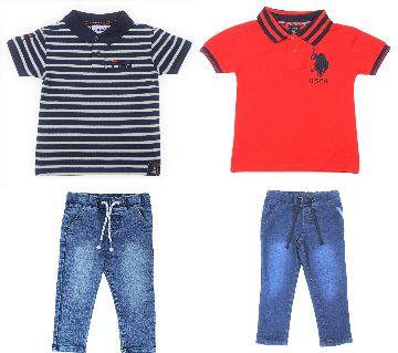 Boys 2 pcs polo shirts 2 pcs jeans pant sets.-black, red