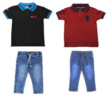 Boys 2 pcs polo shirts and 2 pcs jeans pant sets. -black and maroon