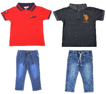 Boys  2pcs polo shirts and 2pcs jeans pant sets. -black and red
