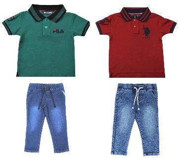 Boys  2 pcs polo shirts 2 pcs jeans pant sets.-green and maroon