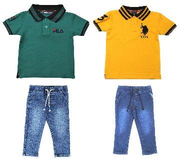 Boys 2 pcs polo shirts and 2 pcs jeans pant sets.-green and yellow