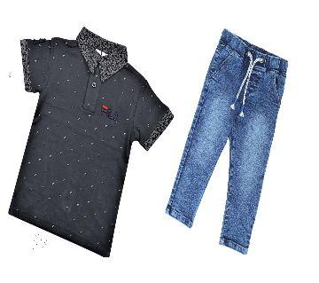boys   polo shirt and jeans pant sets.-black