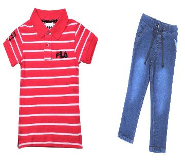 Boys  polo shirt and jeans pant sets-red