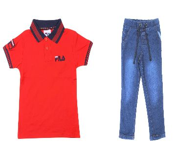 FILA  polo shirt and jeans pant sets for kids