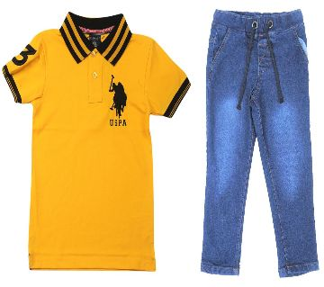 US polo half sleeve cotton polo shirt and jeans for kids combo offer -yellow