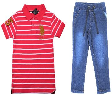 US polo half sleeve cotton polo shirt and jeans for kids combo offer -red