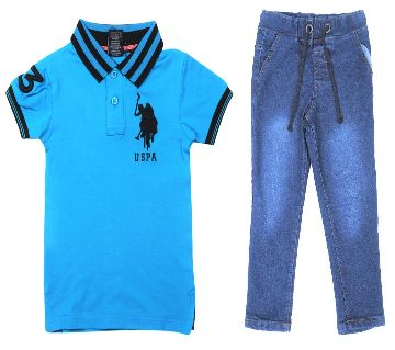 US polo half sleeve cotton polo shirt and jeans for kids combo offer -firoja
