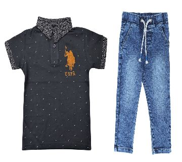 US polo half sleeve cotton polo shirt and jeans for kids combo offer  -black