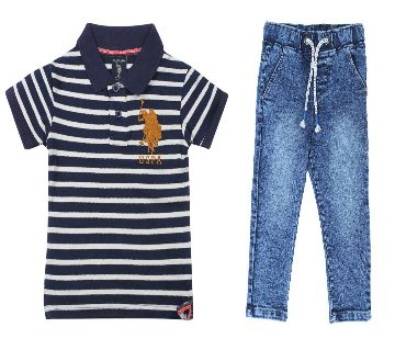 US polo half sleeve cotton polo shirt and jeans for kids combo offer -striped