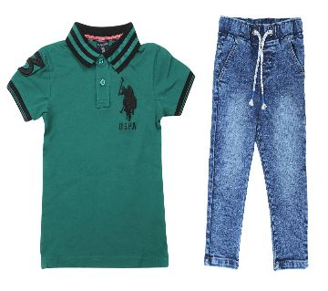 US polo half sleeve cotton polo shirt and jeans for kids combo offer -green